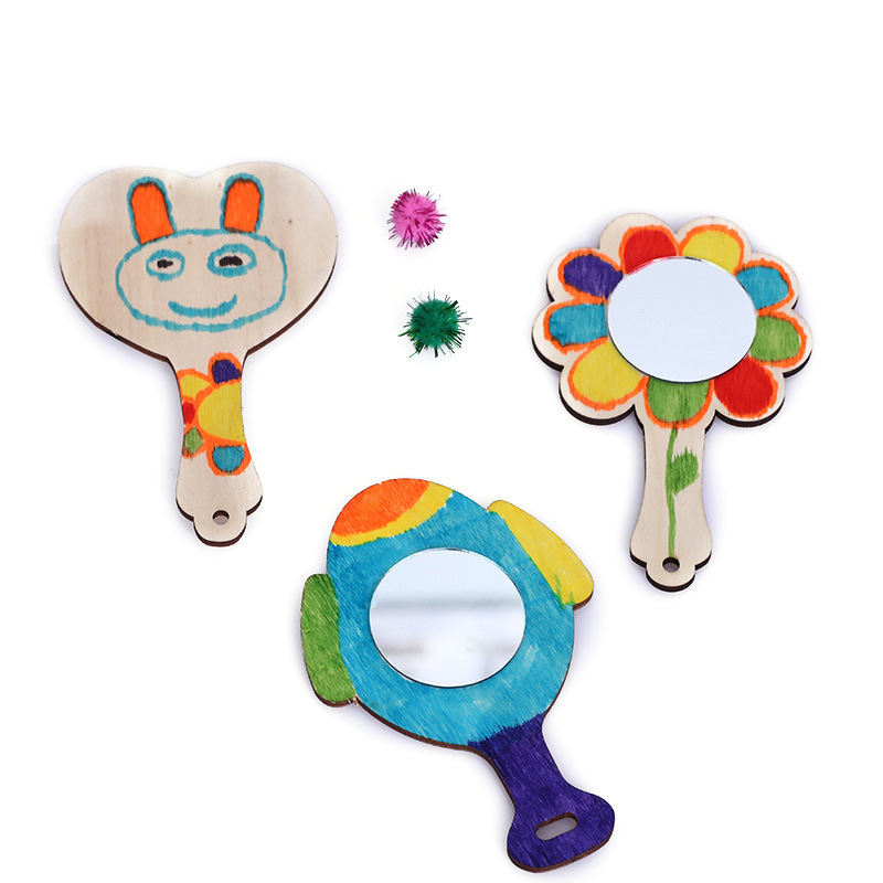 13cm Diy Drawing Wooden Mirror Children Hand Mirror Snow Mud Pearl Mud Clay Fine Arts Crafts Toy Coat With Painting