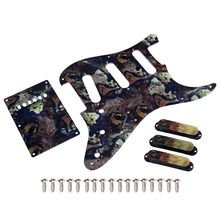 Guitar Pickguard Scratch Plate Strat SSS 11 Holes Cavity Spring Cover Back Plate kmise electric guitar loaded pickguard scratch plate for fender strat parts 3 ply sss black