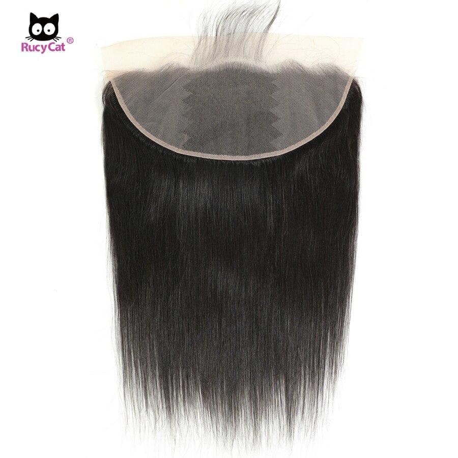 Rucycat em linha reta frontal remy do cabelo humano 13x4 rendas frontal cabelo brasileiro médio marrom rendas frontal superior qualidade laço suíço