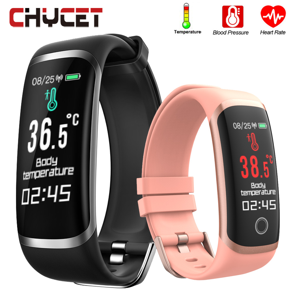 Body Temperature Smart Bracelet Men Women Smart Band Watches Heart Rate Fitness Tracker Bracelet Blood Pressure For Android IOS