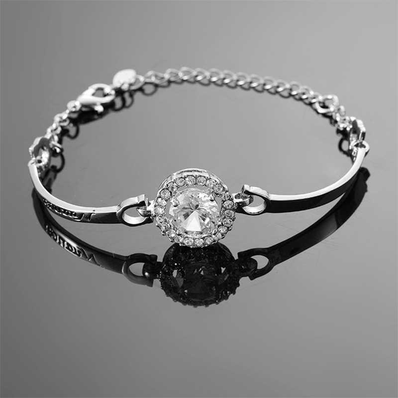 ใหม่สร้อยข้อมือผู้หญิงกำไลเงิน Silver สี Elegant Shinning Rhinestone สร้อยข้อมือเครื่องประดับหญิง