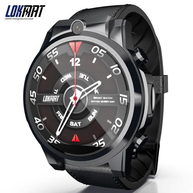 LOKMAT 4G 5mp + 5mp كاميرا مزدوجة ساعة ذكية الرجال الروبوت 7.1 MTK6739 1GB + 16GB 400*400 AMOLED شاشة GPS WIFI ساعة ذكية لنظام تشغيل الأندرويد