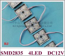 with lens LED light module SMD 2835 LED module for sign channel letter DC12V SMD2835 4 led 1.2W 120lm 38mm*38mm*8mm IP65