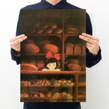 Room decoration anime witch home delivery retro kraft paper poster bar cafe decoration painting wall sticker