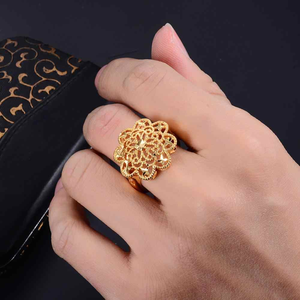 Wando New Arrival Roses Women's Wedding Gold Color dropshipping Rings For girl Cute/Romantic Accessories Halloween Gift