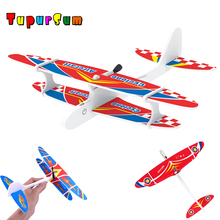Electric Capacitor Plane LED EPP Foam Airplane Hand Launch Throwing Glider Aircraft Model Outdoor Kids Educational Toy For Kids
