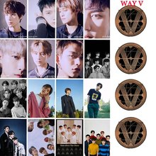 16Pcs/Set Kpop WAYV Take Over The Moon Photocard Sticker New Album Crystal Card Sticker Ten Winwin Photo Stikcy Card 18pcs set kpop mamamoo reality in black album melting photo version for student card bus pvc crystal card