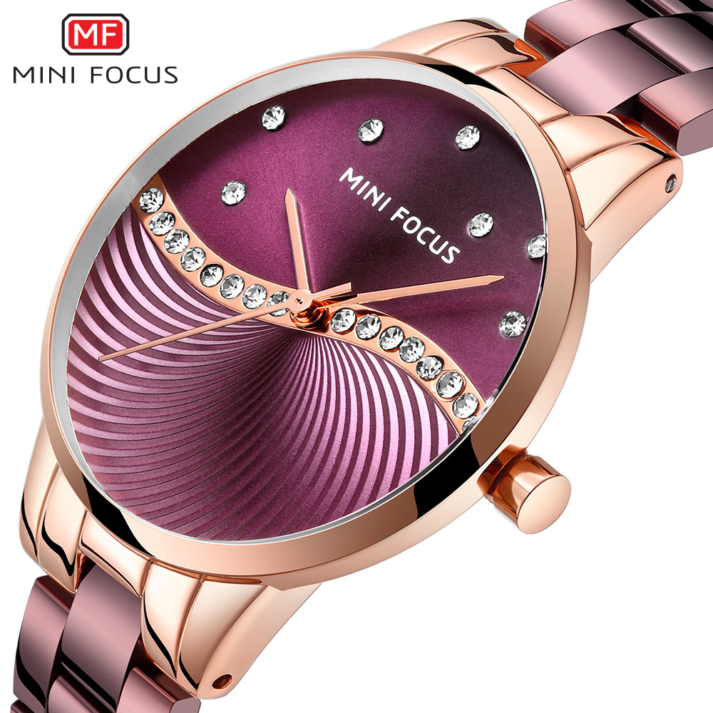 MINI FOCUS Top Brand Luxury Fashion Women Watches Lady Purple Stainless Steel Strap Waterproof Quartz-Watches Feminine +Gift Box