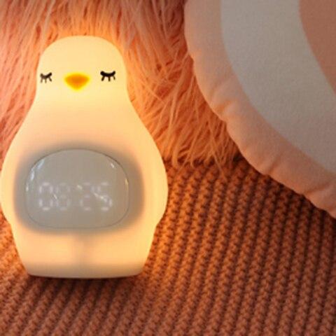 criancas bonitos pequeno despertador quarto cama dormir estudantes mudo luz recarga pequenas luzes noite decoracao casa