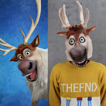 Movie Reindeer Sven Mask Cosplay Animal Funny Elk Latex Masks Halloween Carnival Party Costume Props 1pc 3d mask halloween carnival party props full face masks masquerade cosplay props diy horror funny latex mask new 2018