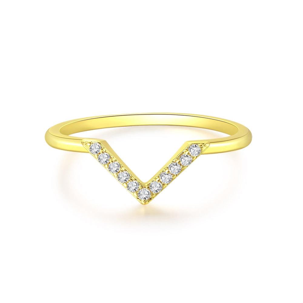 Anillos inusuales Vintage con forma de V para mujer, joyería para Dedo de Color dorado claro, accesorios para mujer, joyería para citas R293