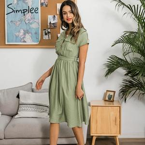 Image 5 - Simplee V neck solid women dress Vintage elegant button belt midi summer dress Casual streetwear office ladies pockets dress