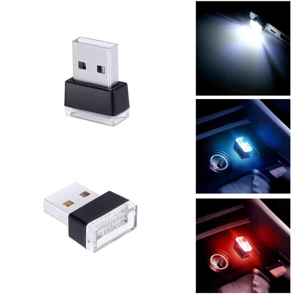 1pc Universal Car Atmosphere Lights Decorative Lamp Car USB LED Emergency Lighting PC Portable Plug And Play