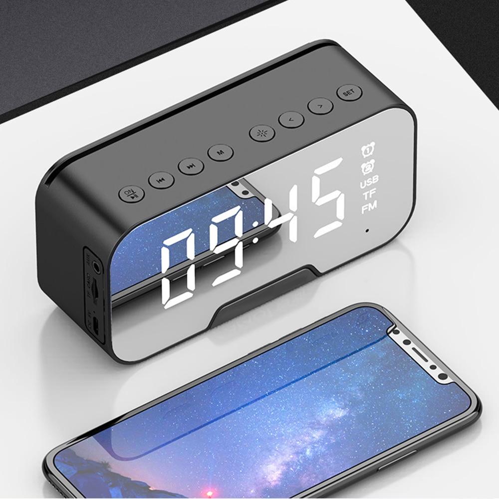 Многофункциональный зеркальный будильник, Bluetooth колонка с FM радио, светодиодный зеркальный будильник, беспроводной сабвуфер, музыкальный плеер, настольные часы|Будильники|   | АлиЭкспресс - Товары для домашнего офиса
