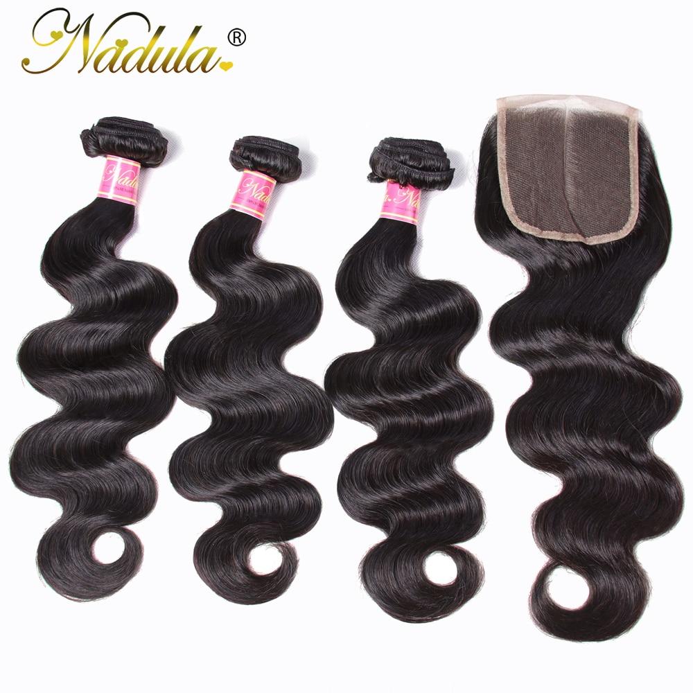 Nadula Body Wave Bundles with Closure 4x4 Lace Closure   Hair  Bundles with Closure 100%  Bundles 3