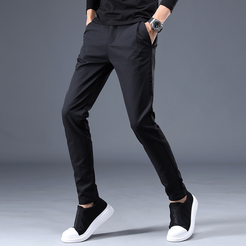 New Style Urban Fashion Hot Selling Popular Elasticity Cotton Medium Waist Men Trend Slim Fit Casual Pants 6679