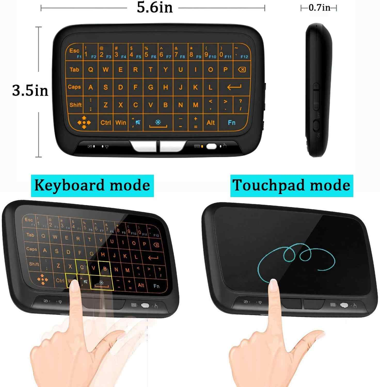 Mini Draadloze Toetsenbord Touchpad Combo Met 3 Niveau Backlit Oplaadbare Full Screen Muis Afstandsbediening Voor Android Tv Box, iptv