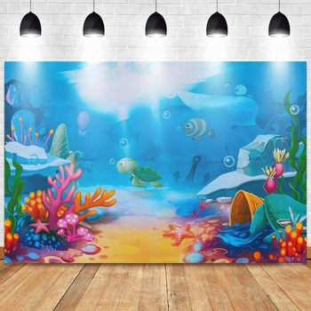 Little Mermaid Under Sea Coral Castle Baby Birthday Party Photography Background Photographic Backdrops For Photo Studio