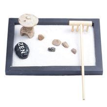 Japanese Karesansui Mini Zen Table Garden with Rattle Pebbles and Sand Decoration Home Office – 15x11x1cm