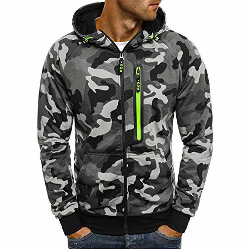 2019 Mens Camouflage Rits Trui Lange Mouwen Hooded Sweatshirt Tops Blouse Casual Mode Hip Hop Punk Uitloper