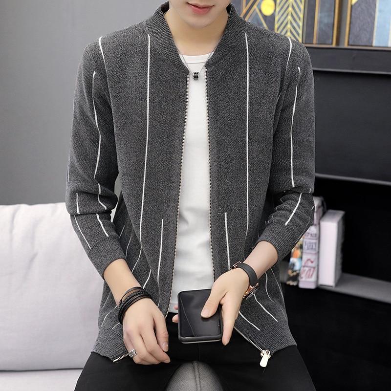 Fall 2019 New Cardigan Sweater Man Collar Stripe Zip Sweaters