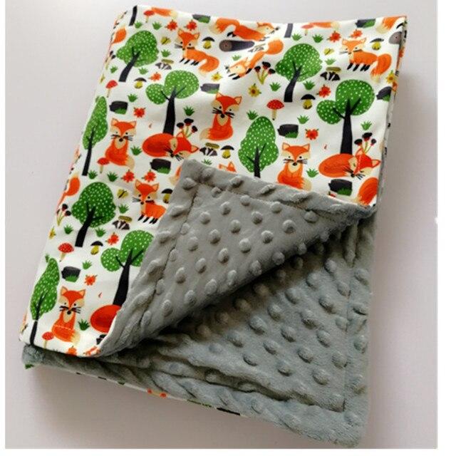 طفل بطانية قبعة بطانية الربيع الطفل طباعة الثعلب الفانيلا المرجان بطانية بطانية مكيف الهواء بطانية للأطفال 75*120 سنتيمتر