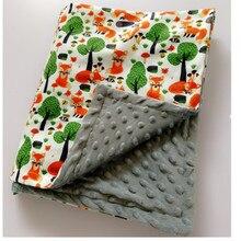 Cobertor do bebê cobertor de gorro primavera bebê impressão raposa flanela coral cobertor cobertor de ar condicionado cobertor para crianças 75*120cm