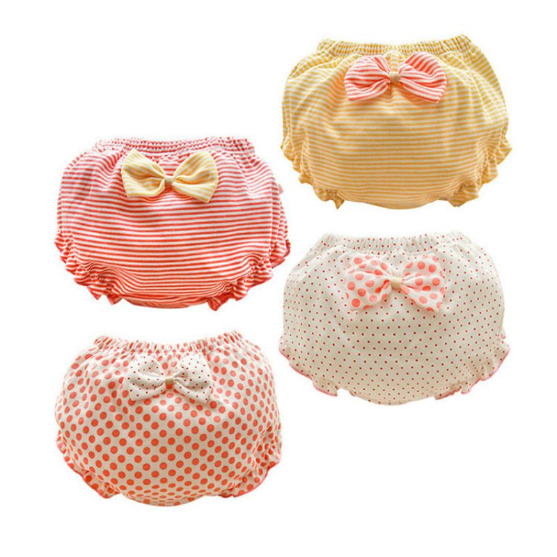 0-4T Toddler Baby Girl Cotton Cute Breathable Soft Dot Print Underwear Panties Briefs With Bowknot Reusable Pants Panties Nappy