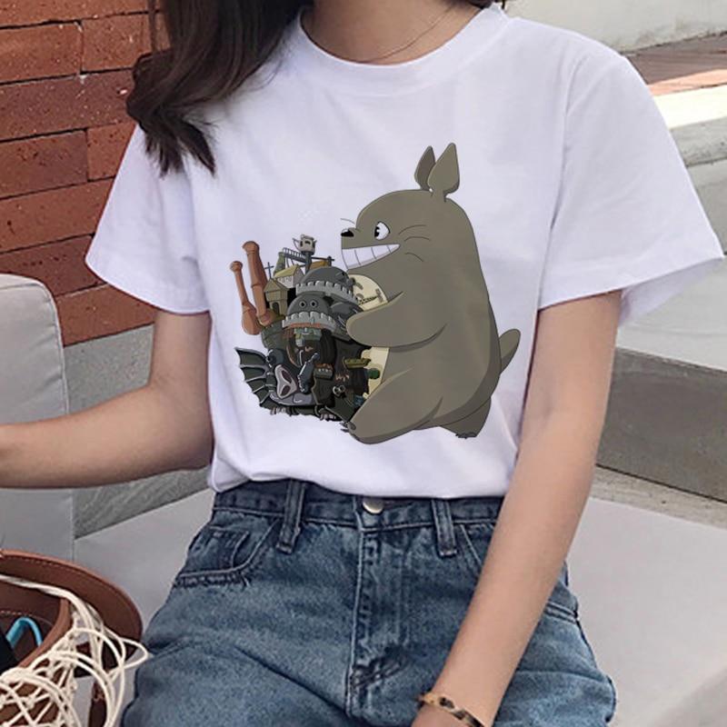 90s Graphic Tshirt Cute Top Tees Female Totoro Harajuku Kawaii T Shirt Women Studio Ghibli Funny Cartoon Print T-shirt