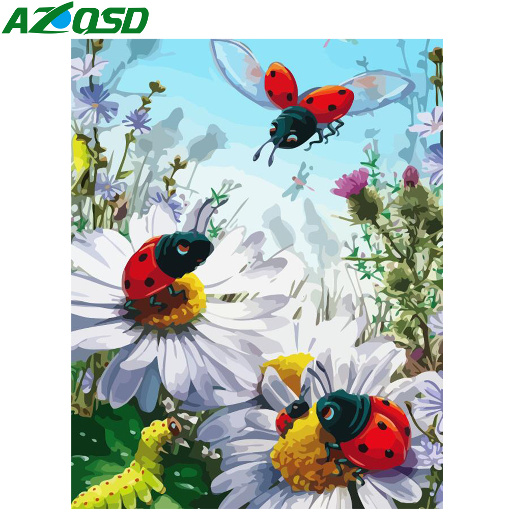 AZQSD Unframe Painting By Numbers Ladybug Acrylic Paint DIY Home Decoration Oil Paint By Number Flower Handpainted Gift
