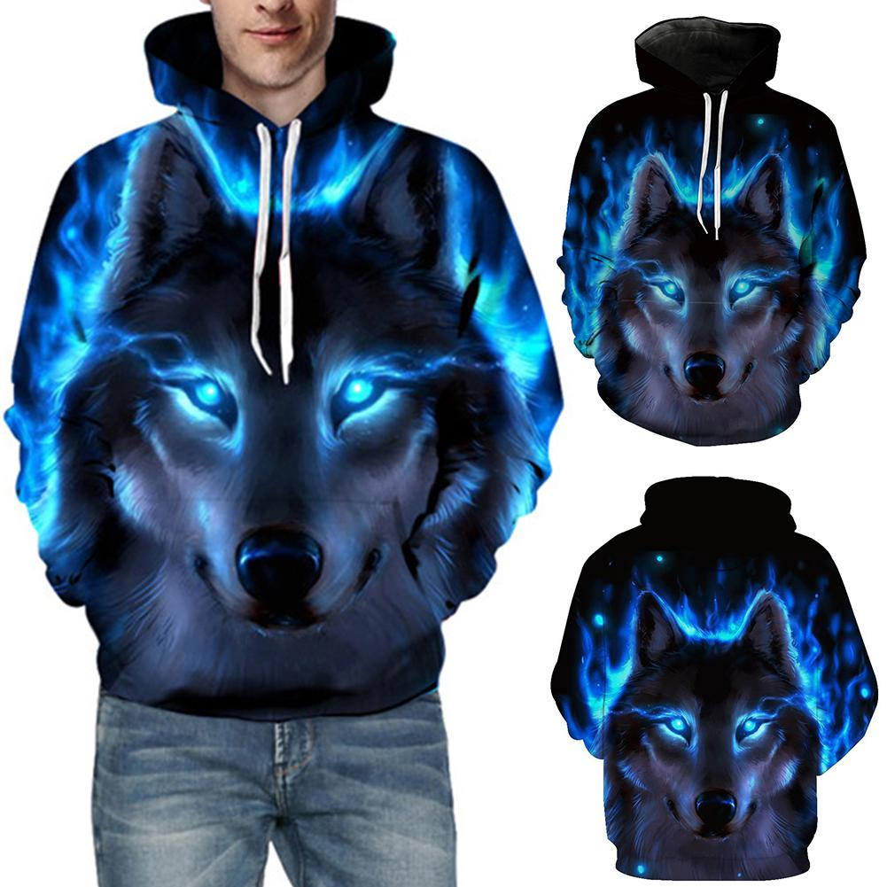 3D Wolf Print Men's Sweatshirts Long Sleeve Hoodies Sports Men Drawstring Hooded Sweatshirt Hoodie Autumn  Winter Men's Clothing