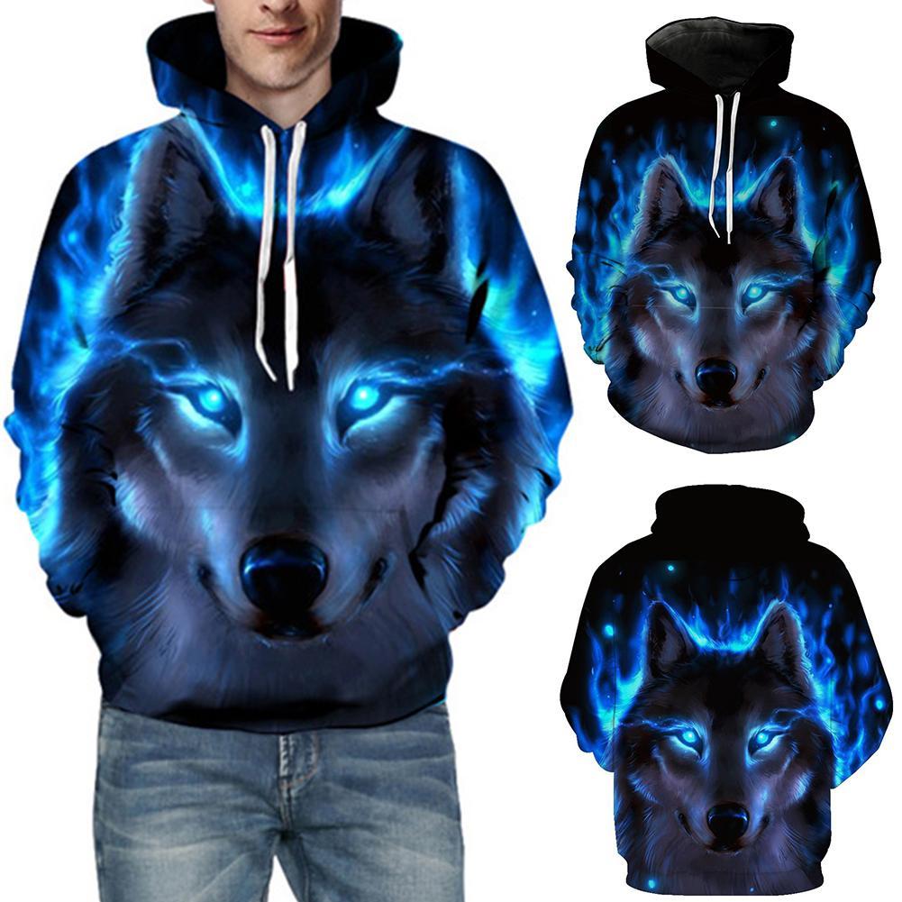 3D Wolf Print Men's Sweatshirts Long Sleeve Hoodies Sports Men Drawstring Hooded Sweatshirt Hoodie Autumn  Winter Men's Clothing