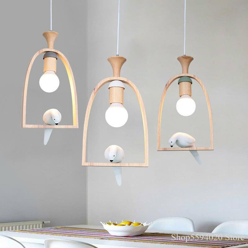 nordic wooden bird chandelier lights creative warm romantic restaurant living room pendant lamp bird light hanging lamp suspendu