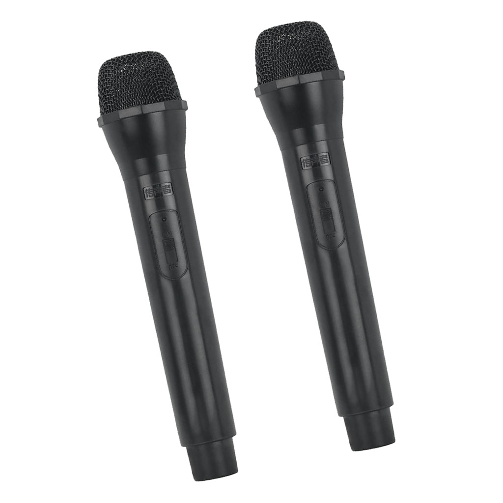2 Pcs Microphone Prop Mic Costume Handheld Singer Telemarketer Fake Accessory Black