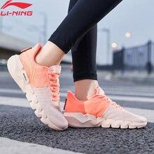 Li-ning mulher flex sapatos de corrida em movimento inteligente forro respirável esporte lazer luz li ning tênis arkq006