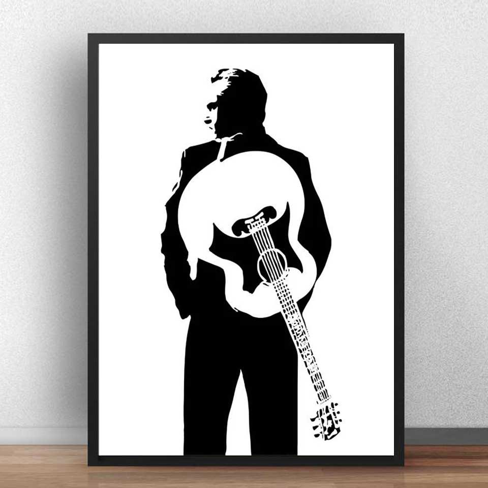 Johnny Cash Poster Rockmusik S/änger Popstar Poster Und Drucke Leinwand Malerei Wandkunst Bild Wohnkultur Rahmenlos H762 50X70Cm