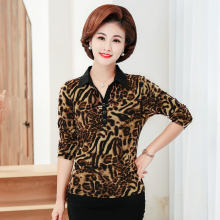 Middle Aged Women Flower Blouse Autumn Spring Leopard Print Long Sleeve Johnny Collar Tops Mauture Lady Plus Size Clothings 5XL(China)