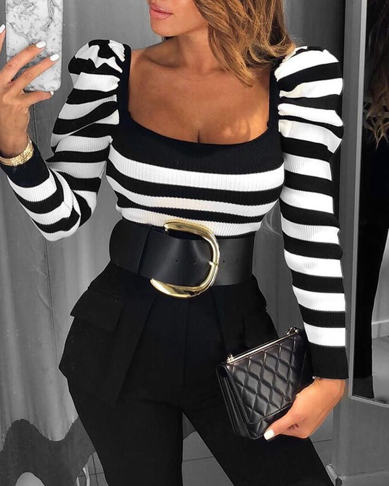 2019 Fashion Autumn Elegant Female Shirt Square Collar Vintage Blouse Tops Long Sleeve Striped Puff Sleeve Casual Blouse