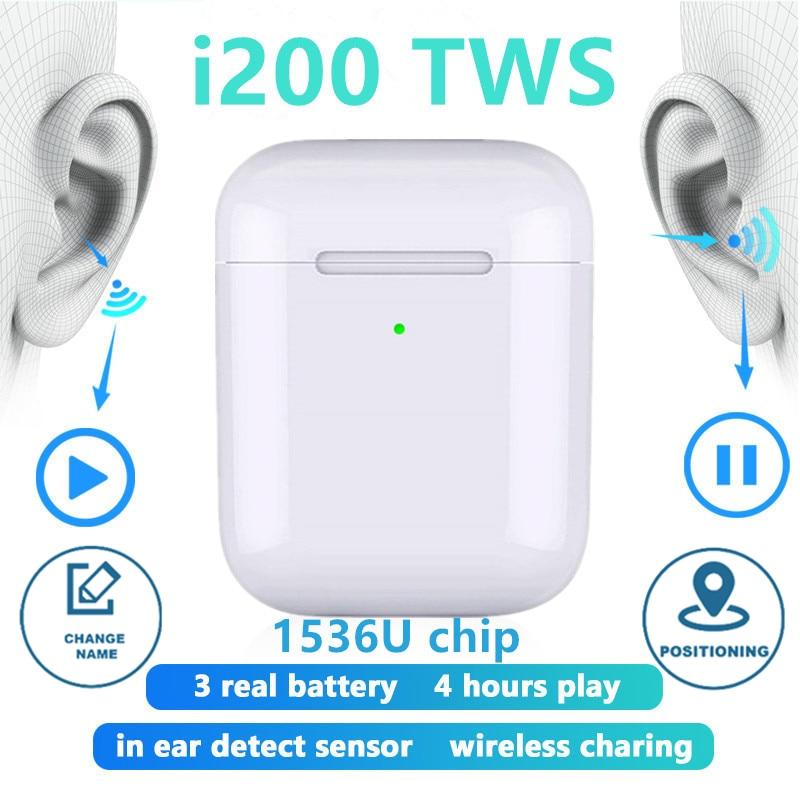 I200 TWS Pop-ups Bluetooth Earphones Wireless Charging Wireless Headphones Earbuds Headset For IPhone PK I500 I9000 I12 I10 TWS