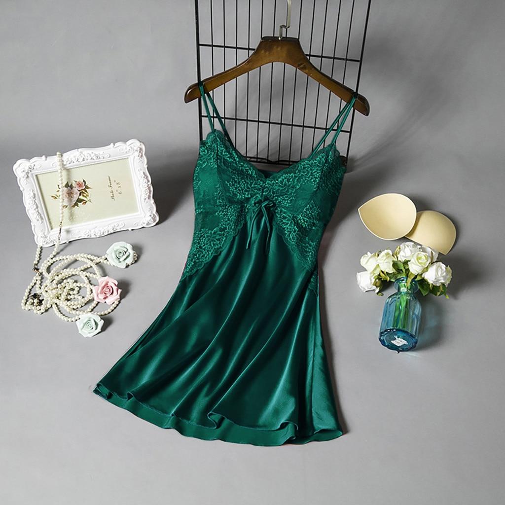 New Sexy Lingerie Dress Plus Size Women's Nightgown Satin Lace Sleepwear Nightdress Deep V Sexy Nightwear Lady Babydoll Homewear