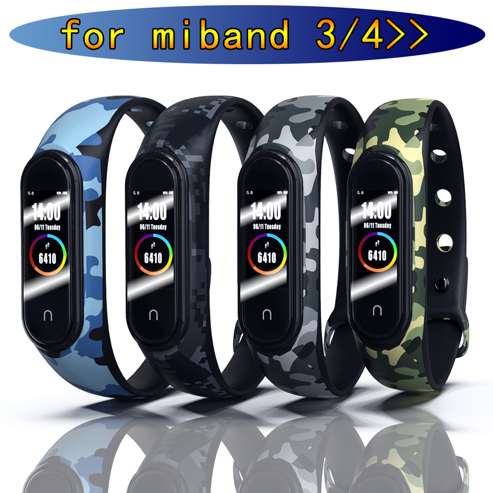Camouflage Bracelet for Xiaomi Mi Band 4 Strap Silicone Printing Flowers Strap Miband 3 Accessories for Xiaomi Miband 4 NFC Band(China)
