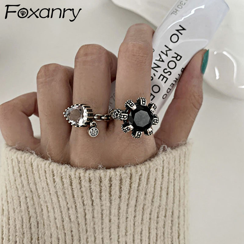 Foxanry 925 Sterling Silver LOVE Engagement Rings New Fashion Vintage Punk Water Drop Geometric Party Jewelry Gifts for Women