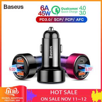 Baseus double Usb chargeur de voiture QC 3.0 4.0 chargeur rapide de téléphone portable chargeur pour iphone Samsung Huawei métal voiture charge PD 3.0