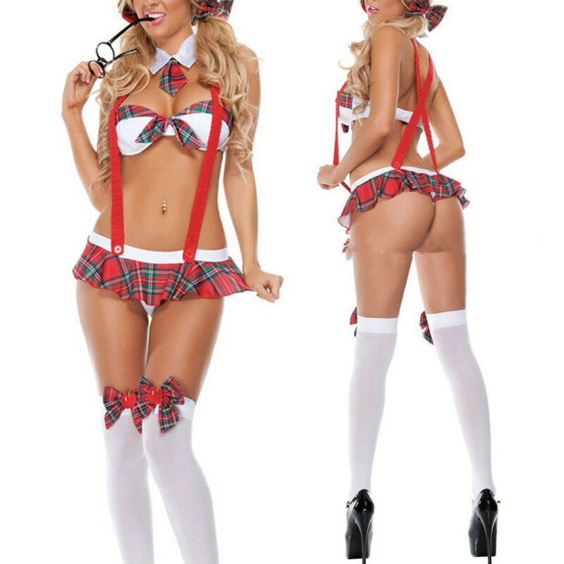 Women's Sexy Lingerie Cosplay Student Uniform Set Ladies Sexy Exotic Costume Fancy Skirts Women Cotton Cloth Sexy Uniform Outfit