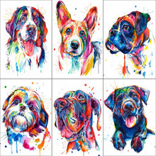 Full Square Drill 5D DIY Diamond Painting Watercolor dog Embroidery Cross Stitch Mosaic Home Decor(China)