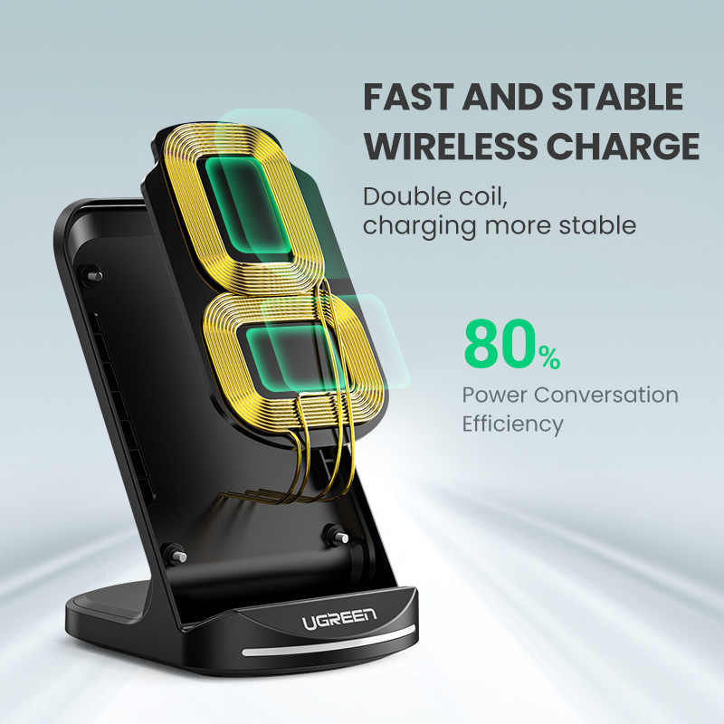 Ugreen Qi Wireless Charger Stand untuk iPhone 11 Pro X XS 8 XR Samsung S9 S10 S8 S10E Nirkabel Cepat stasiun Pengisian Charger Telepon