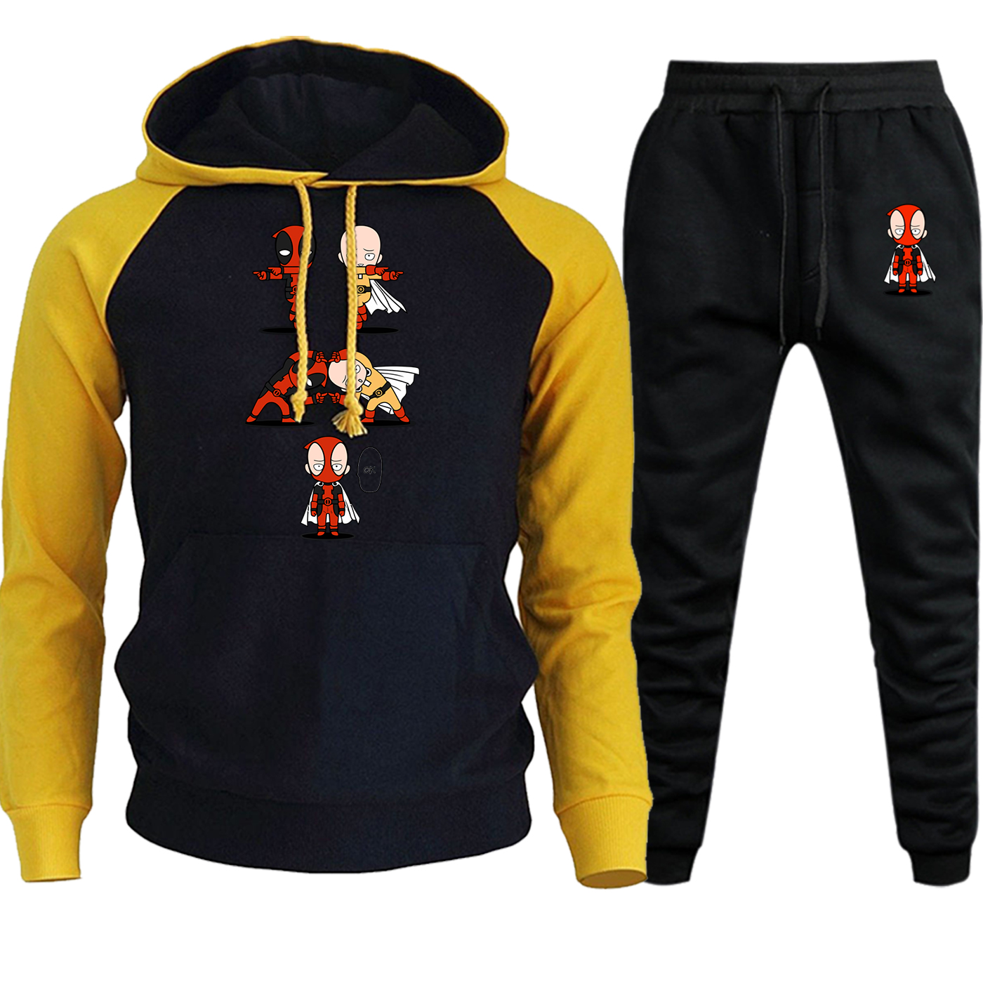 One Punch Man Deadpool Streetwear Men Hoodies Raglan Autumn Winter 2019 Casual Fleece Hooded Suit Pullover+Pants 2 Piece Set