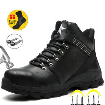 Męskie buty stalowe buty z palcami męskie buty zimowe buty antyprzebiciowe buty ochronne męskie niezniszczalne buty robocze buty ochronne męskie tanie i dobre opinie MJYTHF Pracy i bezpieczeństwa CN (pochodzenie) ANKLE Stałe Dla dorosłych Cotton Fabric Okrągły nosek RUBBER Zima Mieszkanie (≤1cm)