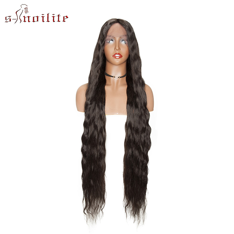 S-noilite 28''38'' Ombre Water Wave U Part Lace Wigs Long Wig Synthetic Heat Resistant Hair Wig For Women Cosplay Wig Hairpiece