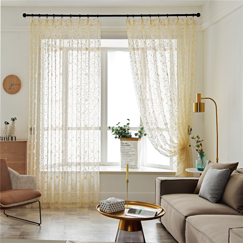 Topfinel Sheer Curtains Windows-Treatment-Panel Bedroom Tulle Living-Room Embroidered